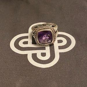 David Yurman Amethyst Albion Ring 11mm sz 5.75